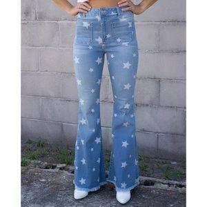 🆕 Light Wash Star Print Flare Jeans